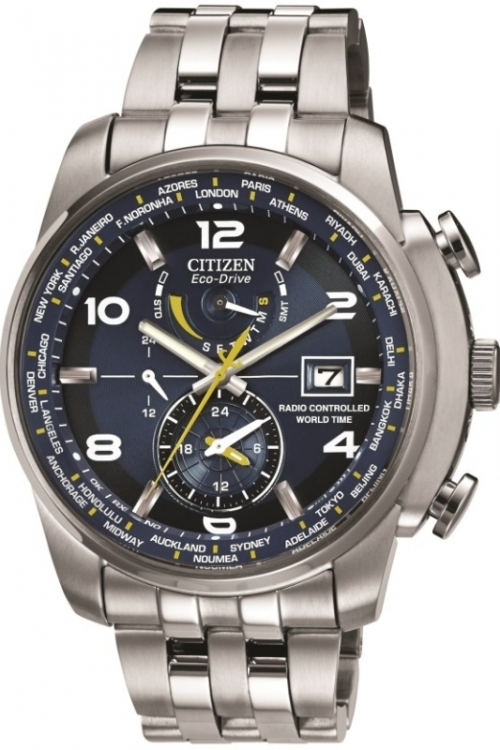 Mens Citizen World Time A.T Alarm Radio Controlled Eco-Drive Watch AT9010-52L