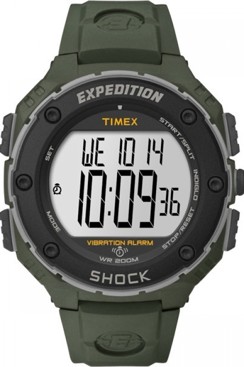 Mens Timex Indiglo EXPEDITION SHOCK XL VIBRATING Alarm Chronograph Watch T49951