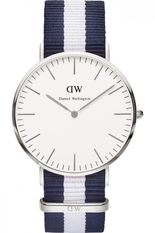 Mens Daniel Wellington Glasgow Silver 40mm Watch 0204DW