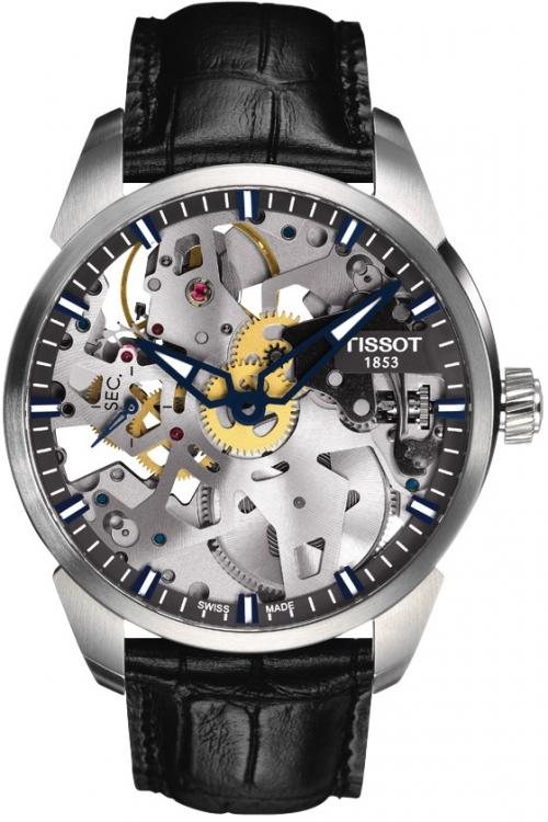 Mens Tissot Chemin Des Tourelles Squelette Mechanical Watch T0704051641100