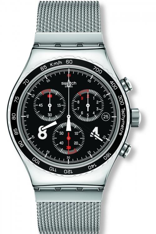 Mens Swatch Blackie Chronograph Watch YVS401G
