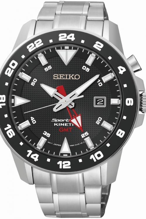 Mens Seiko Sportura GMT Kinetic Watch SUN015P1