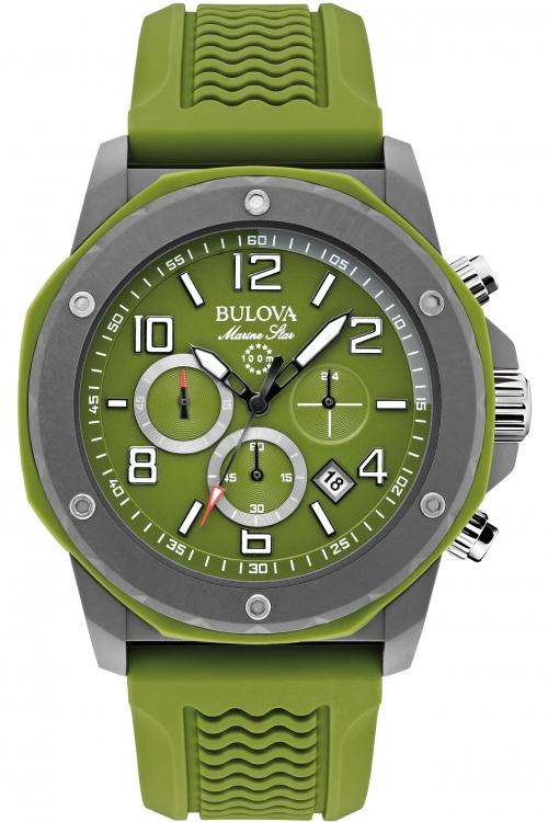 Mens Bulova Marine Star Duramic Green Chronograph Watch 98B202