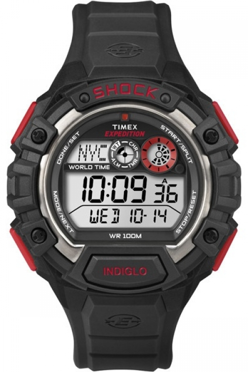 Mens Timex Indiglo Expedition World Shock Alarm Chronograph Watch T49973