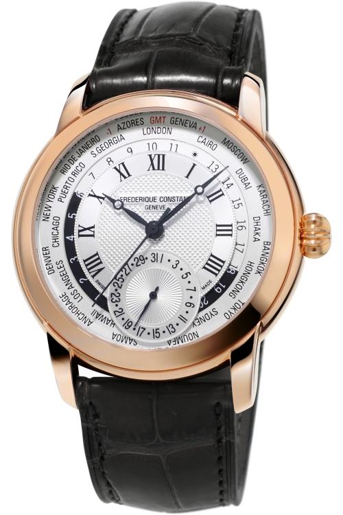 Mens Frederique Constant Classic Manufacture Worldtimer Automatic Watch FC-718MC4H4