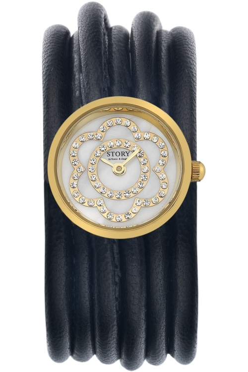 Ladies Story Watch Black Lambskin Watch
