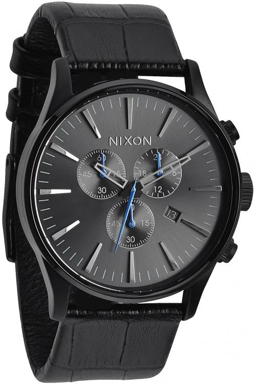 Mens Nixon The Sentry Chrono Leather Chronograph Watch A405-1886