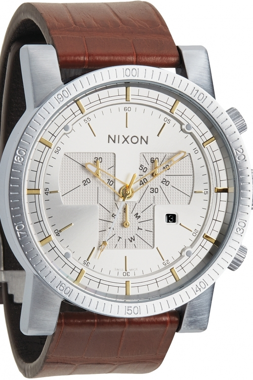 Mens Nixon The Magnacon Leather II Chronograph Watch A458-1887