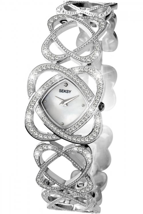 Ladies Seksy Crystal Hearts Watch