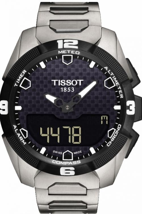 Mens Tissot T-Touch Solar Titanium Alarm Chronograph Solar Powered Watch T0914204405100
