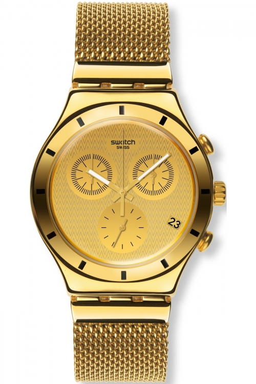 Mens Swatch Irony Chrono - Golden Cover L Chronograph Watch YCG410GA