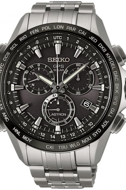 Mens Seiko Astron GPS Titanium Chronograph Radio Controlled Solar Powered Watch SSE003J1