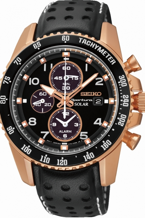Mens Seiko Sportura Alarm Chronograph Solar Powered Watch SSC274P9