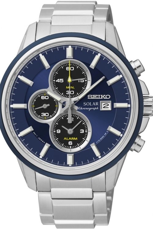 Mens Seiko Sports Alarm Chronograph Solar Powered Watch SSC253P1