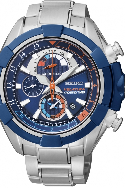 Mens Seiko Velatura Yachting Timer Alarm Chronograph Watch SPC143P1