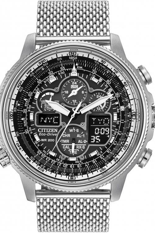 Mens Citizen Navihawk A-T Alarm Chronograph Radio Controlled Eco-Drive Watch JY8030-83E