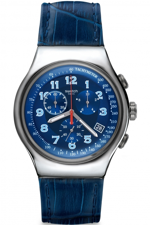 Mens Swatch Irony Chrono - Blue Turn Chronograph Watch YOS449
