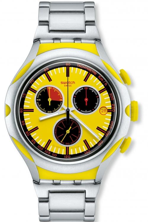 Mens Swatch Irony X-Lite - Lemon Squash Chronograph Watch YYS4002AG