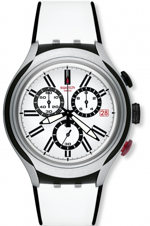 Mens Swatch Irony X-Lite - Black Wheel Chronograph Watch YYS4005