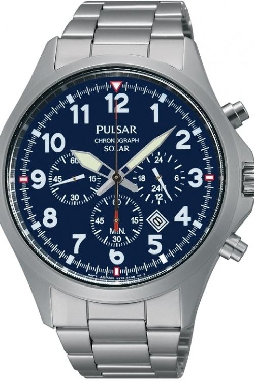 Mens Pulsar Chronograph Solar Powered Watch PX5001X1