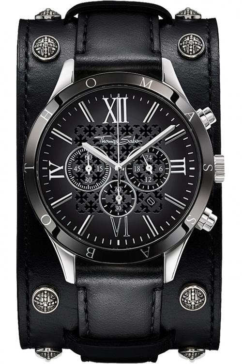 Mens Thomas Sabo Rebel Urban Chronograph Cuff Watch WA0140-218-203-43MM