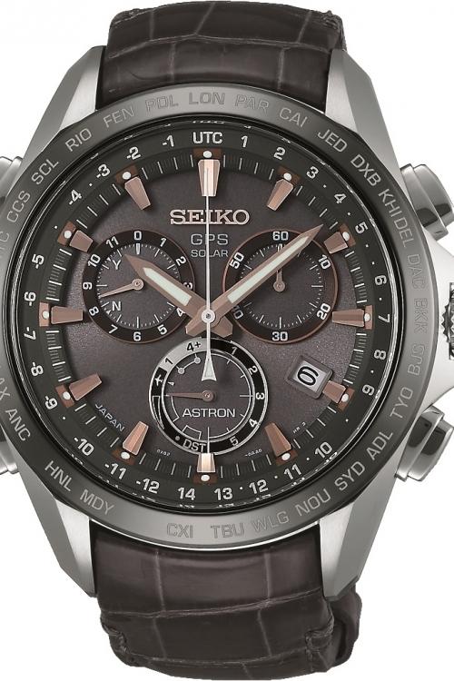 Mens Seiko Astron GPS Titanium Chronograph Solar Powered Watch SSE023J1