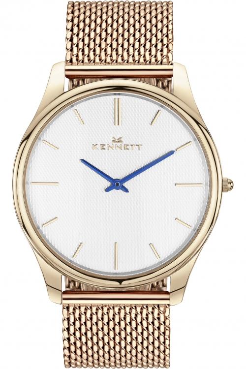 Mens Kennett Kensington Rose Gold White Milanese Watch KRGWHMIL