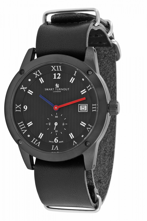 Mens Smart Turnout Town Watch with Black Leather Nato Strap Watch STE2/56/W-BL