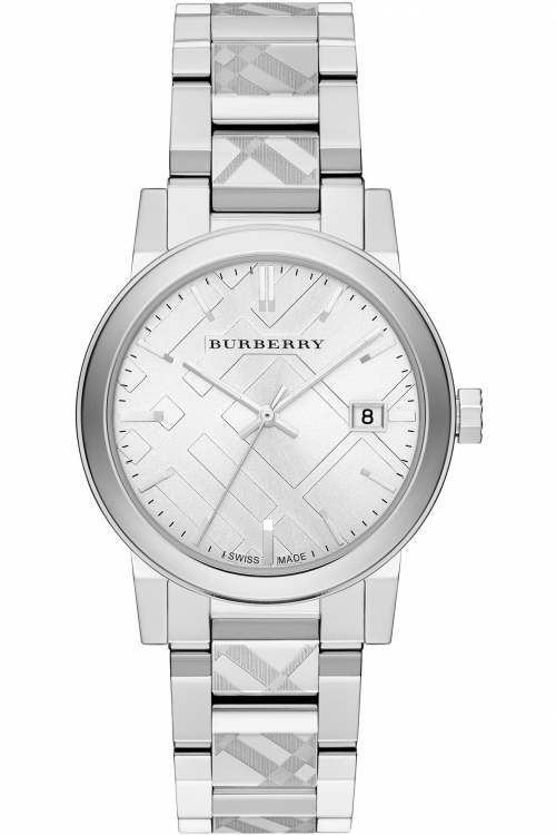 Mens Burberry The City Engraved Check Watch BU9037