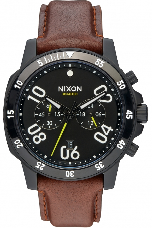 Mens Nixon The Ranger Leather Chronograph Watch A940-712