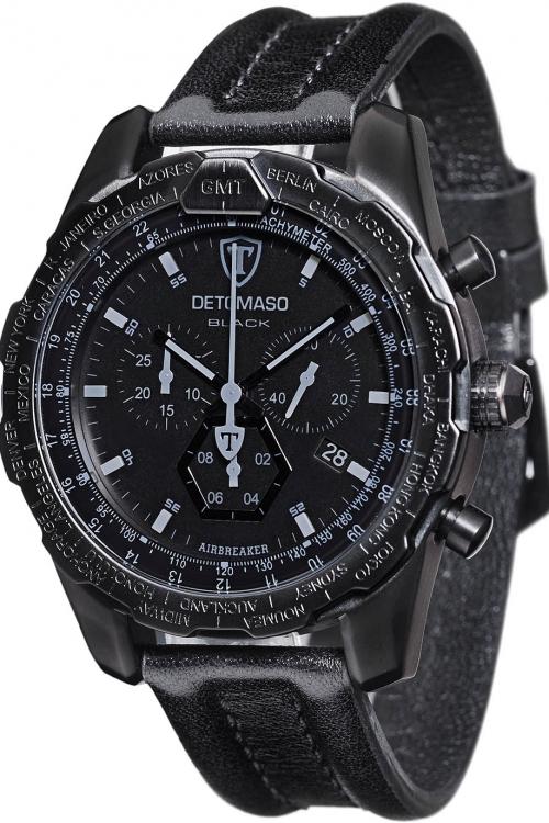 Mens Detomaso Marks a Man - Airbreaker Black Edition Chronograph Watch DT-YG101-C