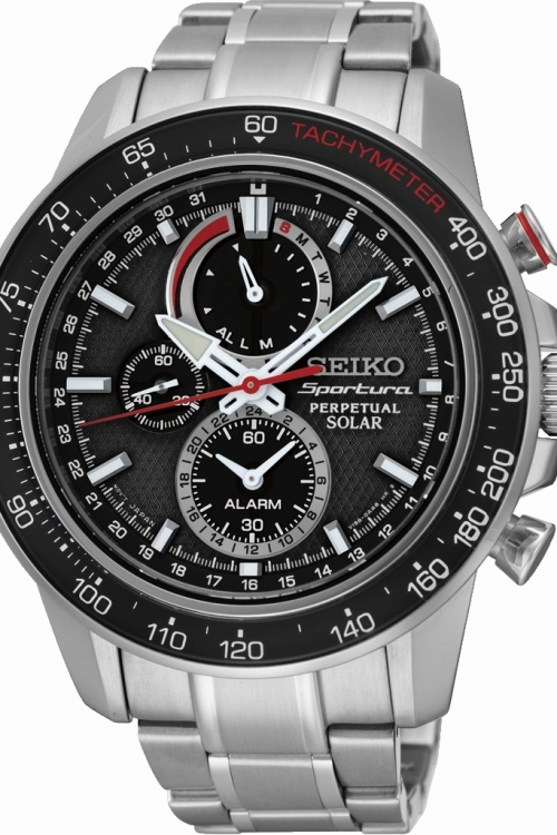 Mens Seiko Sportura Perpetual Alarm Chronograph Solar Powered Watch SSC357P1