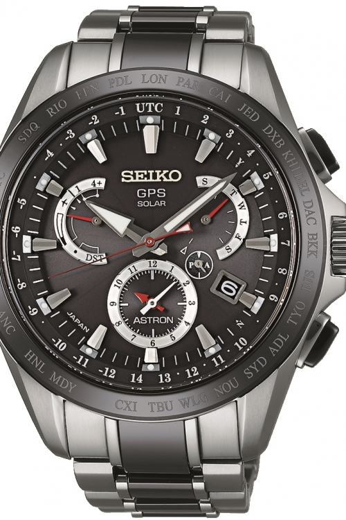Mens Seiko Astron GPS Dual Time Titanium Ceramic Solar Powered Watch SSE041J1