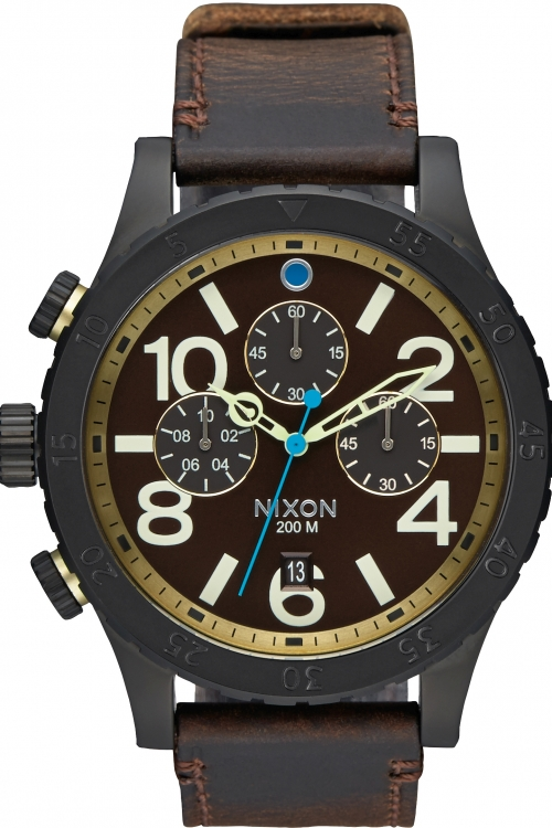 Mens Nixon The 48-20 Leather Chronograph Watch A363-2209