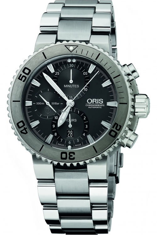 Mens Oris Aquis Titan Titanium Automatic Chronograph Watch 0167476557253-0782675PEB