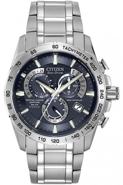 Mens Citizen Perpetual Chrono A-T Titanium Alarm Chronograph Eco-Drive Watch AT4011-57L