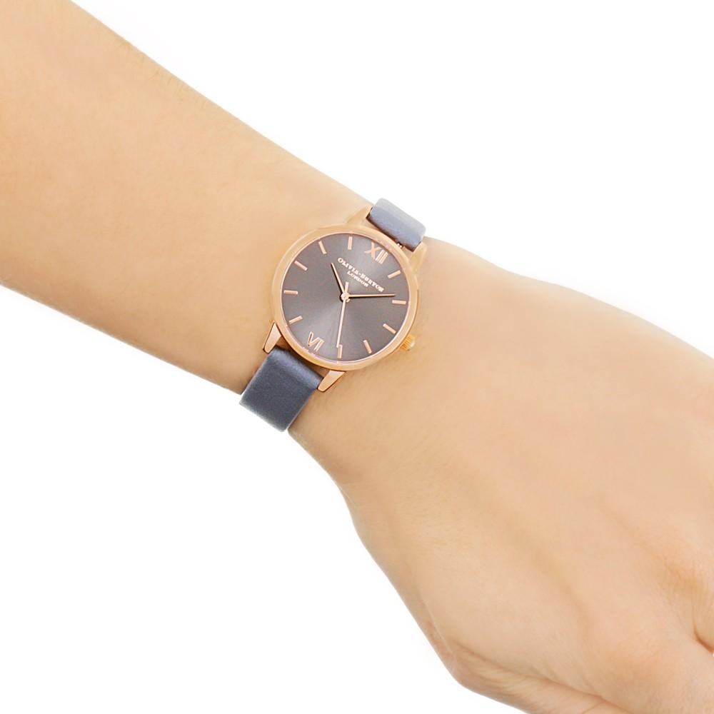 4dd3a40463636 Ladies Olivia Burton Midi Dial Dark Grey   Rose Gold Watch OB16MD78