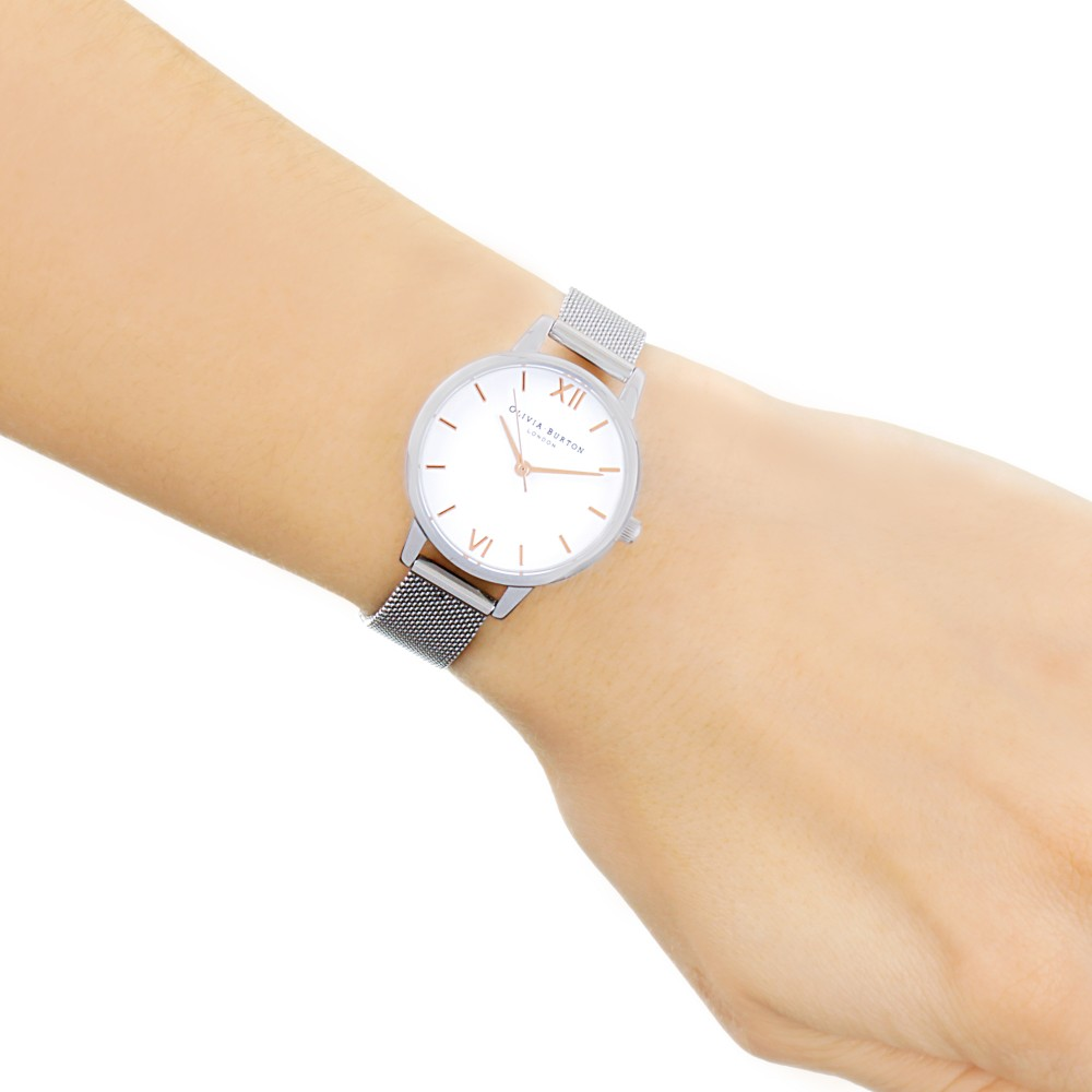 Ladies Olivia Burton Midi Dial White Dial Rose Gold   Silver Watch ... 6eed887eff