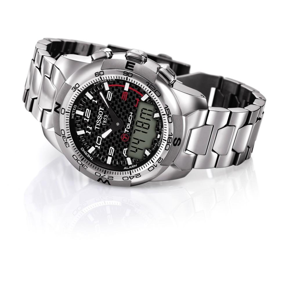 97438ab34de Mens Tissot T-Touch II Titanium Alarm Chronograph Watch T0474204420700
