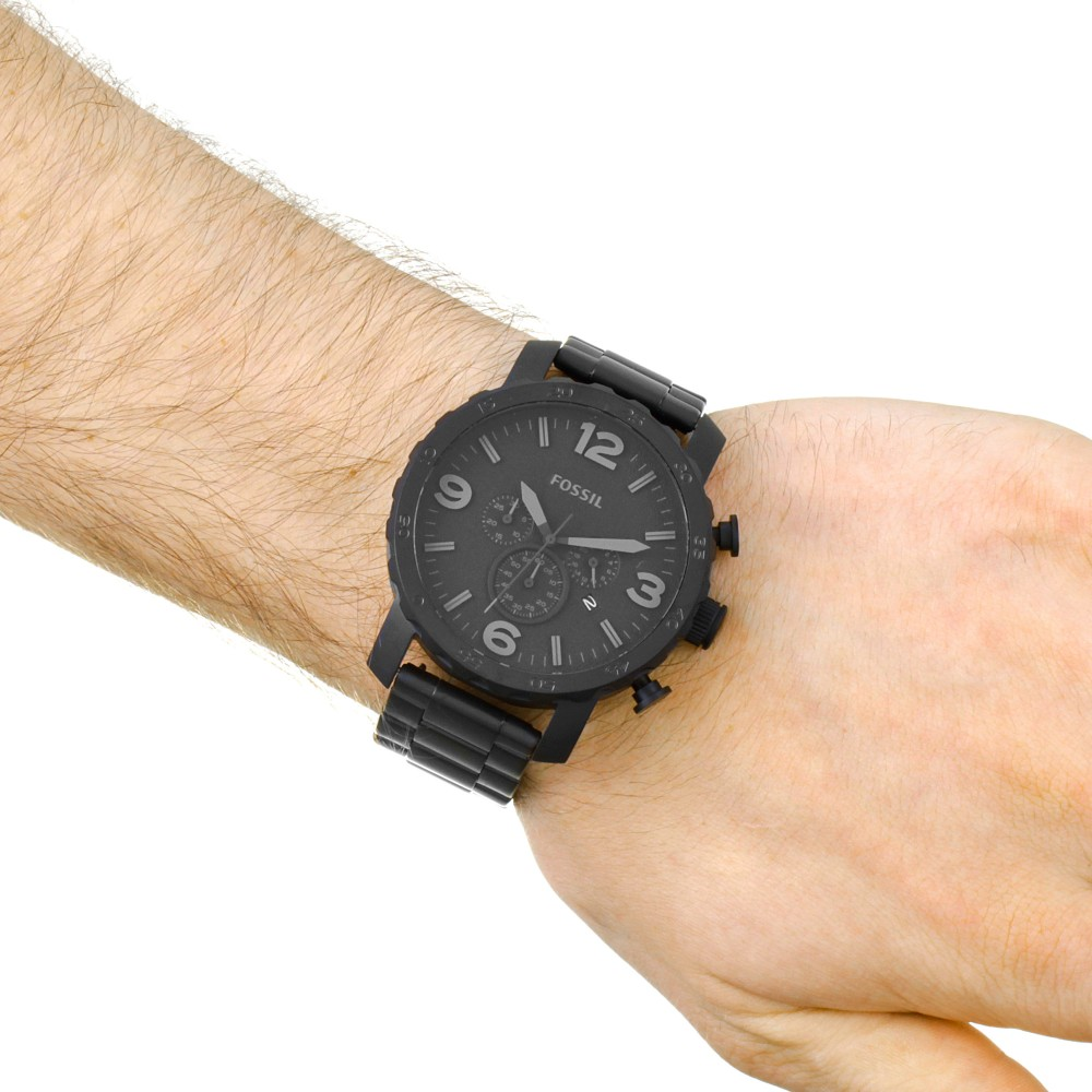 Mens Fossil Nate Chronograph Watch Jr1401 Black Stainless Steel Keyboard Arrow Up