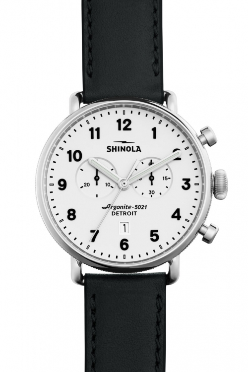 Image of  			   			  			   			  Mens Shinola Canfield Chrono 43mm Black Leather Strap Chronograph Watch S0120001941