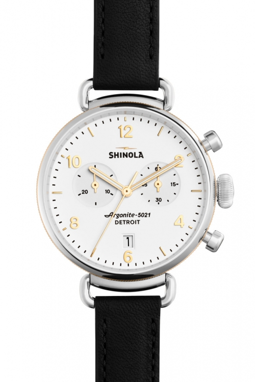 Image of Mens Shinola Canfield 38mm Chrono Black Leather Strap Watch