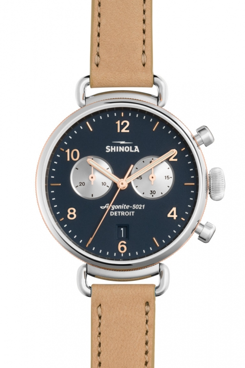 Image of            Shinola Canfield Chrono 38mm Natural Leather Strap Chronograph Watch S0120001931