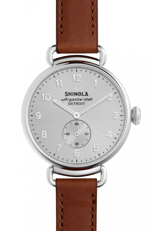 Image of  			   			  			   			  Shinola Canfield Subsecond 38mm Dark Cognac Leather Strap Watch S0120001935