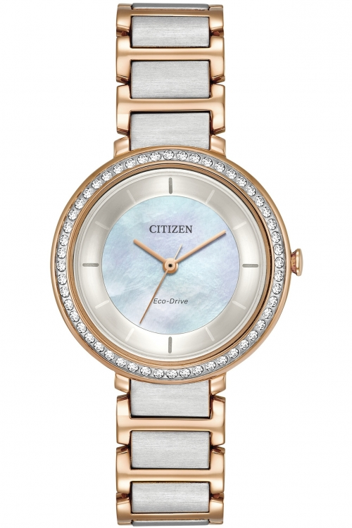 Image of Ladies Citizen Silhouette Crystal Watch EM0483-89D