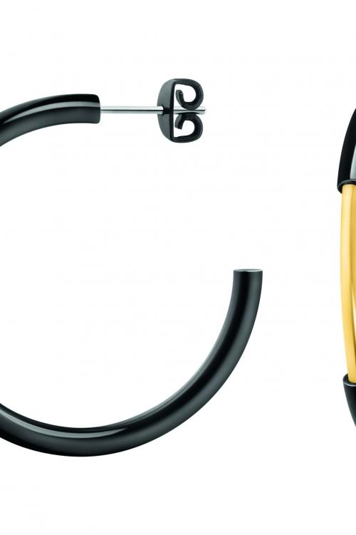 Image of            Ladies Calvin Klein Black Ion-plated Steel & Gold Plated Disclose Earrings KJ5FBE200100
