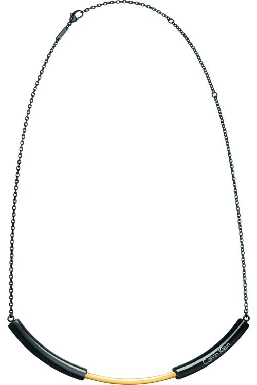 Image of            Ladies Calvin Klein Black Ion-plated Steel & Gold Plated Disclose Choker KJ5FBJ200100