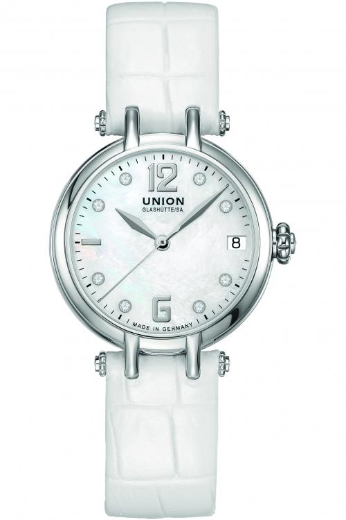Ladies Union Glashuette Sirona Date Automatic Diamond Watch D0062071111600
