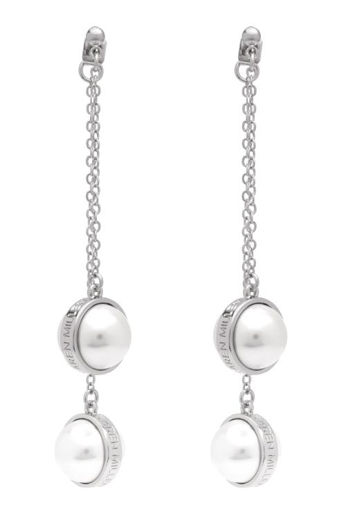 Karen Millen Logo Pearl Double Earrings KMJ1165-01-28
