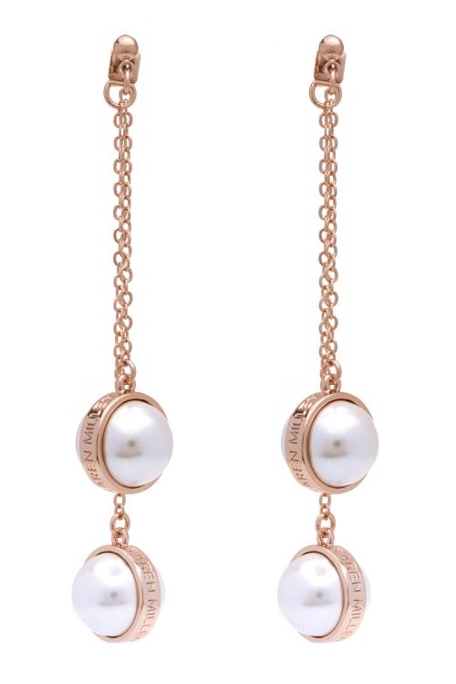 Karen Millen Logo Pearl Double Earrings KMJ1165-24-28